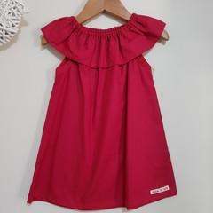 Girls Red Ruffle Collar Dress Size 1 - 6