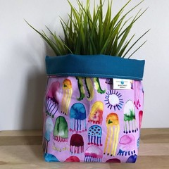 Small fabric planter | Storage basket | Pot cover | JELLYFISH