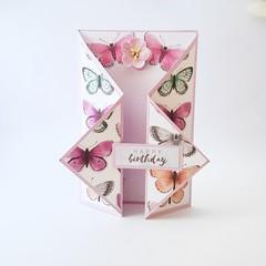 Lilac Butterflies Birthday Card, 3D Birthday Card