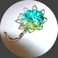 Lime and aqua flower earrings