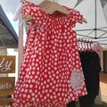 Girls Red Linen Flutter Sleeve Dress Size 0