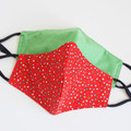 Green red polka dots 3 layers face mask | Reversible  Face cover