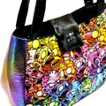 Zombie rainbow holographic pleather large tote bag handbag purse