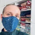 READY TO SHIP ~Cotton/Tencel Face Mask ~ Denim Paint Splotches ~ 3 layers