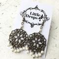 Antique Bronze Toned Metal Mandala Charm Cream Hippy Bo-ho Dangle Earrings