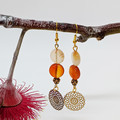 Carnelian mandala earrings with gold mandala charms