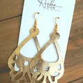 """Vintage Chandelier"" Genuine Leather Earrings, Gold/Black"