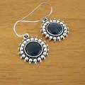 Blue Glass Cabochon Earrings