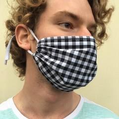 Adult Black Check Face Mask
