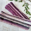 Purple/Pink/Grey Adult Ladies Vintage Hand Crochet Knit Infinity Scarf Cowl