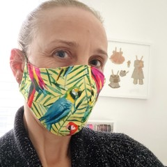 Cotton Face Mask ~Parrots ~ 3 layers