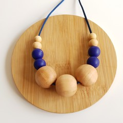 Blue & Organic Maple Wood Ladies Necklace