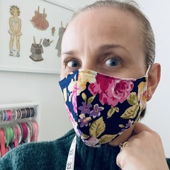 ~Cotton Face Mask ~ Navy Watercolour Floral ~ 3 layers