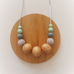 Grey and Mint Ladies Beaded Necklace