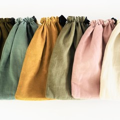 Linen Cotton Blend Drawstring Pouch.  Free with orders of 4 or more face masks.