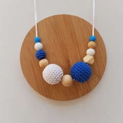 Ladies Beaded Necklace Santorini - Blue and White