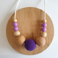 Ladies Purple and Organic Wood Necklace