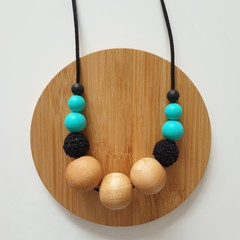 Ladies Beaded Necklace - Turquoise and Black