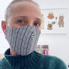 Cotton Face Mask ~Black/White Herringbone ~ 3 layers