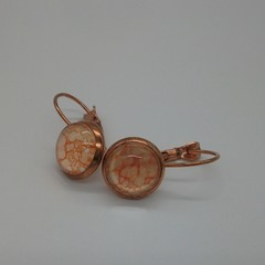 Alma - painted eardrop in rose gold
