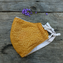 Mustard Floral Print Face Mask
