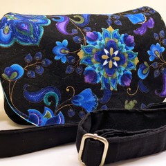 Blue and black floral crossbody bag satchel handbag
