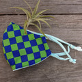 Blue & Green Checker-board Face Mask