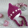 Boysenberry Newborn Crochet Baby Pixie Bonnet Beanie Hat Photo Prop