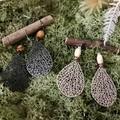 Filigree Leaves Earrings - Black or Beige - Wood - Boho - Per Pair