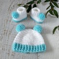 White and Aqua Handmade Crochet Knitted Newborn Pompom Baby Beanie Bonnet Hat