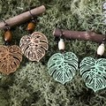 Monsteria leaves Earrings - Green or Beige - Wood - Boho - Per Pair