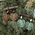 Monsteria leaves Earrings - Green or Beige - Wood - Boho - Per Pair