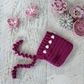 Boysenberry Newborn Crochet Baby Pixie Bonnet Beanie Hat Photo Prop