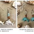 Dolphins Earrings - Howlite - Gemstones - Crystals - Wood - Boho - Per Pair