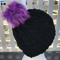 Hand Knitted Beanie, Merino Wool, Cable Pattern, Black, Fur Pom Pom