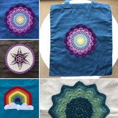 Cotton tote bags with crochet - mandalas and more