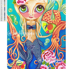 "5D Diamond Painting Kit ""Aquatic Mermaid"" - Complete Art Kit Full Round Drill"