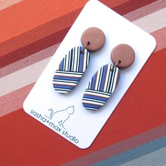Bronze Stripe Oval crisscross Polymer Clay drop earrings