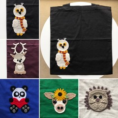 Cotton tote bags with crochet - animals