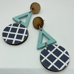 Triple layer grid/pale blue triangle earrings