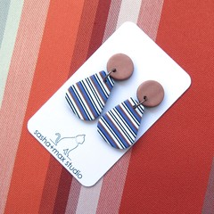 Bronze Stripe Pear shape Polymer Clay drop earrings