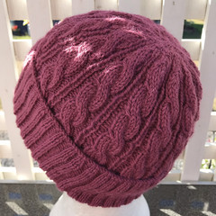 Hand Knitted Beanie, Alpaca Wool, Cable Pattern, Pink
