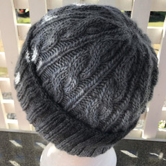 Hand Knitted Beanie, Pure Wool, Cable Pattern