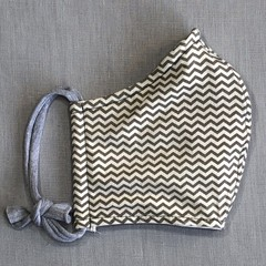 Fabric Face Mask - Beige Chevron (free postage)