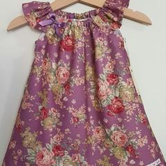 Girls Purple Floral Flutter Sleeve Dress  Size 1 - 6