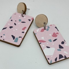 Pastel pink terrazzo print earrings