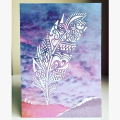 Sunset feather card
