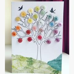Bright button tree card