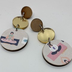 Triple layer gold mirror acrylic/yoga  print earring