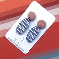 Bronze Stripe Oval horizontal stripe Polymer Clay drop earrings